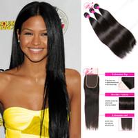 saç paketleri 6a notu toptan satış-Perulu bakire saç unprcossed 6a sınıf düz saç 3 demetleri 10-28 inç doğal renk insan saç demetleri kapatma ücretsiz kargo ile