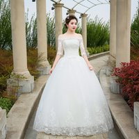 Wholesale Dresses F - Wedding Dresses 2017 The Bride Half Sleeve Elegant Boat Neck Luxury Lace Embroidery Off The Shoulder Princess Classic Ball Gown F