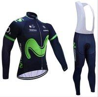 Wholesale Long Bib Movistar - 2017 Movistar cycling jersey and long bib pants sets Ropa Ciclismo breathable cycling clothing Autumn bicycling Maillot Culotte