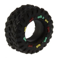 Wholesale Rubber Pet Toys - Free shipping Pet Dog Cat Animal Chews Squeaky Sound Rubber Tire Shape Dog Toy New 8*4cm tire pet toys