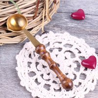 Vente en gros - Mode Vintage BrassWood Spoon pour Melt Wax Melted Dissolve Wax Seal Stamp <b>Envelope DIY</b> Craft Popular Spoon High Quality