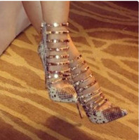 Wholesale Sandals High Lacing - 2017 fashion light blue denim boots lace up ankle booties peep toe sandals boot mujer botas party shoes sext thin heel high heels