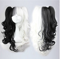 Wholesale Miku Cosplay White - Hatsune Miku Cosplay Synthetic Long Afro Kinky Curly Black and White Wig Heat Resistant Anime Wig Haircut Long Hair 26in peruca Cosplay Wigs