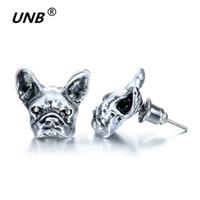 Wholesale Summer Studs Earrings - 2016 New Summer Style Hippie Chic French Bulldog Stud Earrings Elf Ears Cuff Pendiente Animl Dog Earrings for Women Fine Jewelry