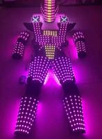 Wholesale Robot Halloween Costumes - LED Robot Suit Costume LEDS Party Show Glow Night Lights Robots
