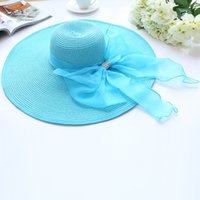 Wholesale Large Brimmed Hats For Women - 2017 Straw Hats For Women's Summer Ladies Wide Brim Beach Hats popular Large Floppy Sun Caps Spring Praia