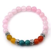 Wholesale Cute Bracelet Stone Natural - Natural stone Cute Pink Beads Bracelet Bangle for Women 7 Reiki Chakra Agate Stone Yoga Balance Stretch Bracelets Chrismas Gift 6