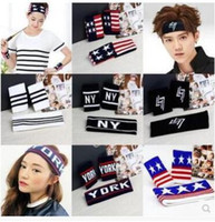 Wholesale Guided Fabrics - Fashion sports men and women letters with high elastic hair band popular running bodybuilding guide sweatband headband