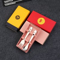 Wholesale dinnerware set cartoon for sale - Group buy Stainless Steel Tableware Set colors paper box packing Kids Spoon and Fork Sets Wedding Favor Party Gifts Smile Cartoon Dinnerware Set