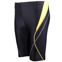 Wholesale Mens Nylon Boy Shorts - Wholesale- New Mens Elastic Swimming Trunks Quick-drying Boxer Shorts Swim Wear Waterproof Surf Board Beach Wear Boy Long Swimsuit 2016