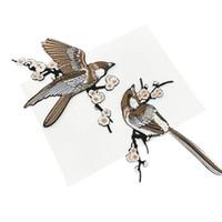 applique eisen kleidung großhandel-1 Para Vogel Gestickte Patches Eisen auf Nähen Parches Für Kleidung Applique Stickerei DIY Liefert Handwerk Aufkleber