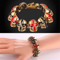 Wholesale Skeleton Head Bracelet - U7 New Punk Skull Strand Bracelet Gold Plated Novelty Red Black Skeleton Head Hiphop Jewelry for Men Amulet Punk Charm Bracelet GH2465