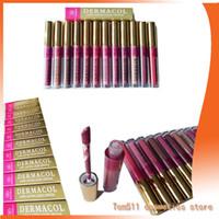Wholesale Girls Lip Gloss Wholesale - 2017 dermacol beauty makeup Matte Lipstick Lip Gloss Long Lasting Waterproof set cosmetic 12 colors for girls DHL Free shipping