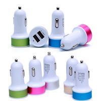 Wholesale Dual Micro Car Charger - Colorful DUAL USB Led Car Charger 2 ports Cigarette Port 5v 2.1A Micro auto power Adapter Dual USB for Phone 7 plus samsung s7 S8