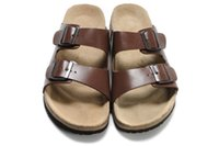 Wholesale White Ankle Strap Heels - New Famous Brand Arizona Men's Flat Sandals Cheap Women Casual Shoes Male Double Buckle Summer Beach Top Quality Genuine Leather Slippers
