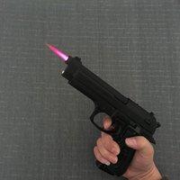 Wholesale Gas Windproof Lighters - Large Metal Pistol M9 Military Model Gun Prop Metal Lighter Windproof 1: 1 Metal Revolver Type Gun Lighter..