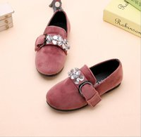 Wholesale Kids Dressing Shoes - New Kids Shoes Girl Rhinestone Princess pu shoes Dancing Suede Shoes 3 Colors 5 pairs  l