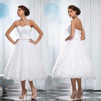 Wholesale Short Empire Wedding Dress - Sexy White Short Lace Wedding Dresses Pleated Applique Handmade Flower A line Brides Short Reception Dresses Bridal Gowns Custom Made