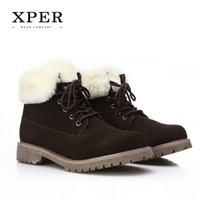 Wholesale Suede Ankle Boots Low Heel - 2016 Brand XPER Men Winter Casual Shoes Lace-up Snow Casual Men Shoes Antiskid Size 40~45 Warm Plus Size #BT001