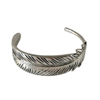 Wholesale Vintage Asian Charm Bracelet - Wholesale Vintage Silver Gold Plated Feather Bangles for Woman Metal Big Feather Leaf Charms Bracelet Bangles Women Open Size Jewelry Gifts
