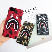 Wholesale Iphone Glow Cover - Camouflage Ape Man Shark Case For iphone8 8plus 7 Plus Hard Back Phone Cases Luminous Glow Cover For iphoneX 6 6S Plus Coque Fanda