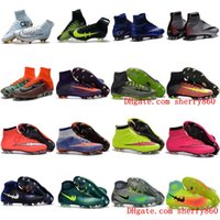 Wholesale Soft Red Leather Shoes - High Top Mens Kids Soccer Shoes Mercurial CR7 Superfly V FG Boys Football Boots Magista Obra 2 Women Youth Soccer Cleats Cristiano Ronaldo