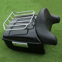 "Wholesale Backrest Rack - High performance motorcycle storage trunk tail box 4"" wrap around backrest w rack for cross bones"