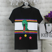 Wholesale Dinosaur Tshirt - 2017 summer tide brand europe tag clothing men stripe 3D dinosaur star print t-shirt women t shirt saint tee tops tshirt hip hop