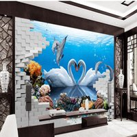 Бесплатная доставка 3D Stereo Custom HD Swan Dolphin Love Living Room TV Backdrop Decorative Painting Lobby Wallpaper Mural