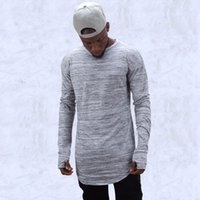 Wholesale fashion brand t shirts extend hip hop street T shirt men long sleeve oversize design hold hand free shippi