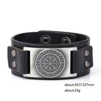 Wholesale Unique Bracelet Designs - Unique Design Tailsman Norse Runes Sun Wheel Vegvisir Viking Amulet Scandinavian Charms Jewelry Cuff Leather Bracelet & Bangles Jewelry
