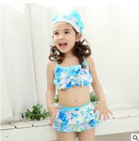 Wholesale Cute Girls Bathing Suits - Children bikini swimsuit girls bows tiered falbala two-piece swimsuit children printed beach swimwear cute kids spa bathing suit T2425