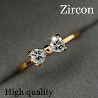 onyx rings china achat en gros de-17KM Autriche Cristal anneaux Or Couleur doigt Bow bague de mariage de mariage Zircon Cristal Anneaux femmes bijoux en gros