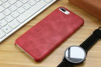Wholesale Business Blackberry - For Apple Red iphone 7 7 plus 6S plus British business retro PU leather pattern soft case shell