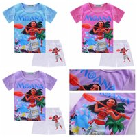 Wholesale Cute Zebra Clothes - 2017 new summer girls outfits Moana cartoon baby girl short sleeve T-shirt+hot pants shorts 2pcs children clothing set kids suit