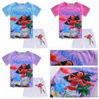Wholesale Leopard Hot Pants - 2017 new summer girls outfits Moana cartoon baby girl short sleeve T-shirt+hot pants shorts 2pcs children clothing set kids suit