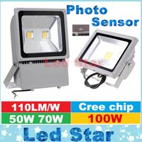 Wholesale Photo Sensor Outdoor - Wholesale- Photo Sensor Led Floodlights 50W 70W 100W Outdoor Garden Landscape Lamps Waterproof Led Flood Lights AC 85-265V Warranty 3 Years
