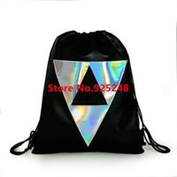 Nizza-Nizza Big Promotion All-Match Laser Silber Holorgam Rucksack School Student Drawstring Holographic Rucksack Big Size Black Bag