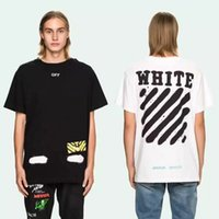 Wholesale Hiphop Men S Tshirt - Off-white OW Mirror T-shirt Men Women 2017 Summer New Arrival Hiphop Tshirt Short Sleeve Cotton Black White