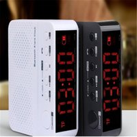 Wholesale Mp3 Player Alarm Clock Radio - 2017 hot selling Universal Bluetooth luminous clock alarm card portable sound box voice call FM radio 3.5 inch screen black white