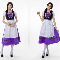 Wholesale Beer Maid Dress - German Oktoberfest Bavarian Traditional Costumes Beer Dress Maid Mounted Carnival Purple Waitress Dress Cosplay Performance Dresses