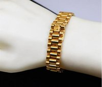 Wholesale President Plate - High-End Hiphop Watchband Adjustable Mens Bracelets 15mm Width 24K Gold Plated President Strap Crown Bracelets