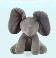 Wholesale Pink Animated - 30CM Plush ANIMATED FLAPPY the ELEPHANT plush toy PEEK A BOO SINGING baby music toy Ears Flap And Move funny toys