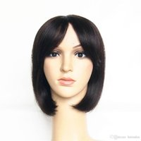 Wholesale 12inch Human Hair Wigs - Hair Products 12inch Cheap Short 100% Human Straight Hair Wigs Machine Made Non Lace Bob Cut Wigs With Front Bangs