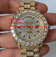 Wholesale Bezel Diamond Band - Luxury High Quality Watch 18k Yellow Gold 36mm Big Diamond Bezel Full Diamond Bands Day Date Swiss ETA 2836 Movement Automatic Mens Watches