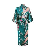 Großhandel-Brand New Long Robe Satin Rayon Bademantel Nightgown Für Frauen Kimono Nachtwäsche Floral Bridemaids Robes Plus Size S-XXXL 010425