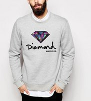 Wholesale Diamonds Fleece - Wholesale- men 2016 autumn winter Diamond sweatshirts long sleeve fleece high quality hoodies hip hop o-neck streetwear top tracksuit homme