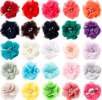 Wholesale Chiffon Flowers Rhinestones - 2017 24colors Chiffon Flowers Clips With Pearl Rhinestone Center Artificial Flower Fabric Flowers With Clips Barrettes Baby Headbands Flower