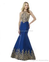 Wholesale Two Piece Dresses For Prom - blue satin halter neckline mermaid formal evening dresses 2018 Arab Dubai heavily embroideried dresses for evening sweep train evening gowns