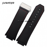ingrosso orologi di grande fascia-JAWODER Cinturino per orologio 30 X19mm Uomo Cinturino cinturino in silicone nero cucito con cinturini in acciaio inossidabile Fibbia deployante per HUB Big Bang